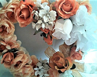 PEACHES And CREAM WREATH Wedding Anniversary Romantic Home Decor Victorian Wall Hanging Bridal Shower Wedding Gift  Lovely Decor For Her