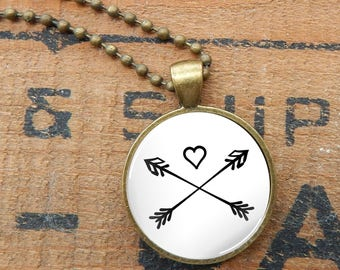 Arrow Pendant Necklace, Two Arrows and Heart Glass Necklace, Boho Arrows and Heart Pendant, Bohemian Arrow Necklace