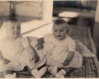 Original Vintage Photograph Snapshot Cute Blonde Baby Girls  1930s