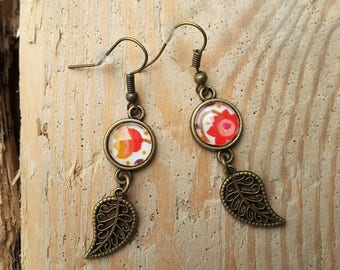 Bronze earrings with the time will come orange liberty fabric