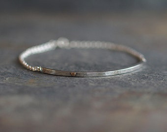 Hammered Sterling Silver Bar Bracelet with 9ct Yellow Gold Heart, Handmade Women's Artisan Boho Jewelry Gifts