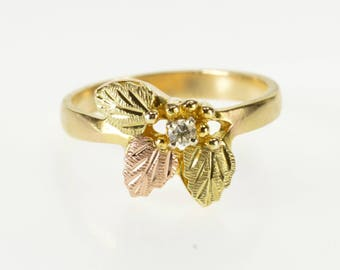 10K Diamond Inset Textured Leaf Design Ring Size 6.25 Yellow Gold