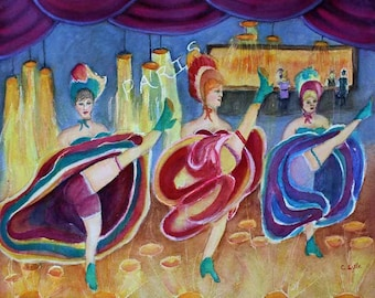Paris France Can-Can Girls Original Watercolor Watercolor Painting Prints Giclee Print  Dancers Magnets Carol Lytle Free Shipping #106
