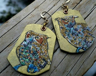 Great Horned Owl Bling Hand-Painted Glitter and Gold Leaf earrings - Portland Audubon Society - Julio