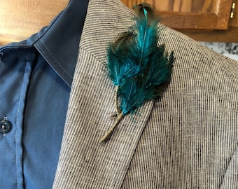 Teal-Multi Feather w/Thread Wrapped Exposed Stem Lapel Button