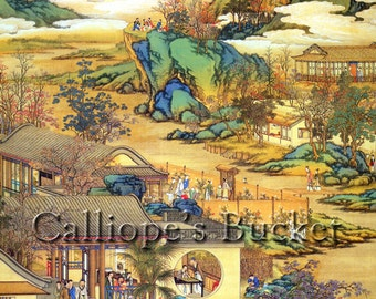 """Scenes along a river, ink on silk.(all artworks are sold without the """"Calliope's Bucket"""" stamp)"""