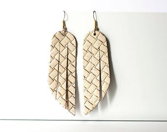 Leather Earrings / Fringe / Woven Gold