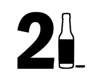 21 Birthday Bottle instant download cut file for cutting machines - SVG DXF EPS ps studio3 studio