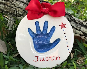 Toddler Handprint - Personalized Baby Handprint Mold - Custom Baby Heirloom - Handprint Keepsake Mold Kit -  Personalized Handprint Art