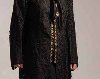 Reduced Victorian Black Passementerie Braid Large Size Long Jacket with Braid Trim - Item #127, Victorians