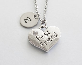 Best Friend Initial Necklace Heart Rhinestone Necklace BFF Friend Birthday Gift Silver Jewelry Personalized Monogram Hand Stamped Letter