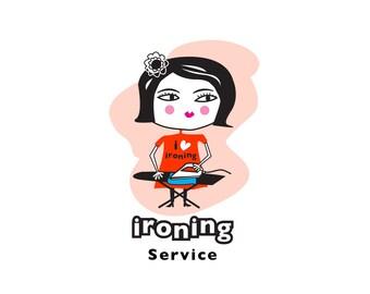 Ironing logo, Ironing lady logo, ironing services logo, custom logo, business logo, instant logo, instant logo download.
