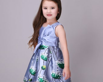 Smiley Oli -Casual Fluffy Floral Toddlers Preschoolers Girls Purple Dress (Ages 3 - 5)