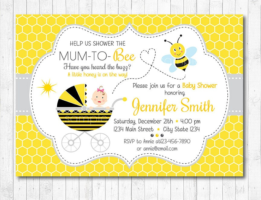 Bee baby shower invitation Bee Baby shower invite Bee and