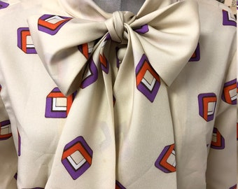 Vintage 1970s Pussy Bow Balloon Sleeved Button Down Geometric Print Blouse Cream Beige Orange Purple Size UK 14 FREE UK Post Cheap Worldwide