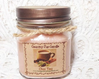 Jar Candle, Chai Tea, mason jar candle, half pint, container candle, spice scent, Moeggenborg Sugar Bush