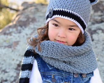 CROCHET PATTERN - Raccoon Adventures Hat & Cowl - raccoon hat pattern crochet hat pattern (Toddler Child Adult sizes) - Instant PDF Download