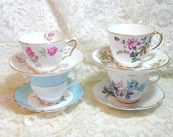 English Teacup And Saucer Collection, Tea Party Set Of Four