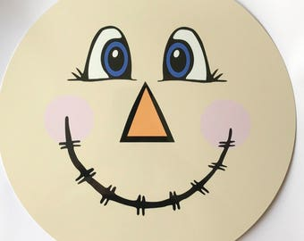 mini scarecrow face sign scarecrow wreath sign fall wreath