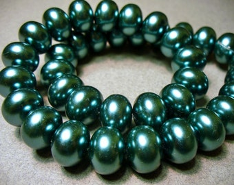 Glass Pearls Teal Rondelle 12x8MM