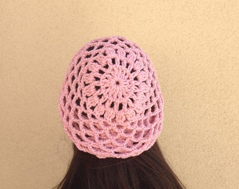 Crochet Lacy Hat, Mesh Hat, Beanie, Net Hat, Crochet Lace Hat, Crochet Hat, Pink Hat, Gift for Her, Gift for Teen Girl *Ready To Ship*