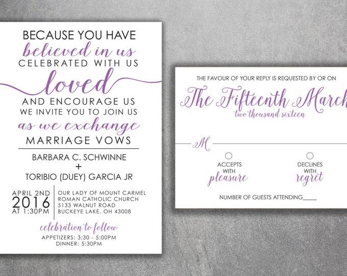 Affordable Wedding Invitations Set Printed - Cheap Wedding Invitations, Unique, Purple and Black, Custom, Modern, Elegant