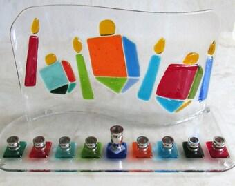 Hanukkah Menorah with Colorful Dreidels and Hanukkah Candles, Fused Glass Menorah, Jewish Wedding Glass Gift, Bar Mitzvah Gift. Hannuka Gift