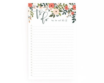 Floral To Do Notepad | Illustrated To Do List Notepad with Hand Lettered Calligraphy, Daily Planner Notepad : Rosy Grove To Do Notepad