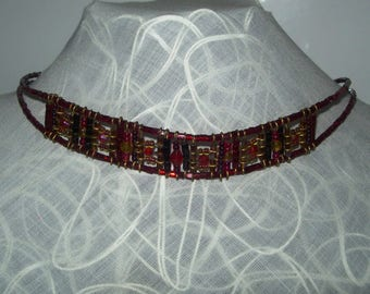 Red and black necklace,choker, vintage, hand made, art deco , beads