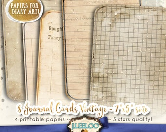 JOURNAL CARDS editable diary art - vintage for scrapbook tattered crafting altered instant download Digital collage sheet printable - pp412