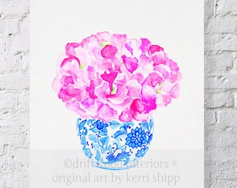 """Blue and White Vase with Sweet Peas Watercolor Print 8x10 - """"Sweet Peas in Vintage Blue"""" - Blue and White China Print - Ginger Jar"""