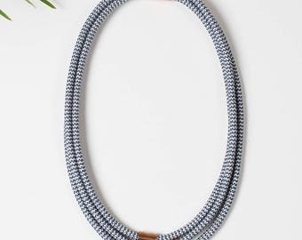 Stripes white and blue Necklace
