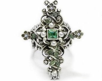 London Cross Ring, Silver Cross Ring, Bronze Cross Ring, London Ring, French Cross Ring, Catholic Ring, Christian Ring, Antique Cross R538