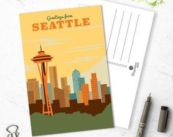 Seattle City Postcard - City postcards - Seattle postcard set - Seattle souvenir - Landmarks - Vintage inspired postcard -Travel postcard