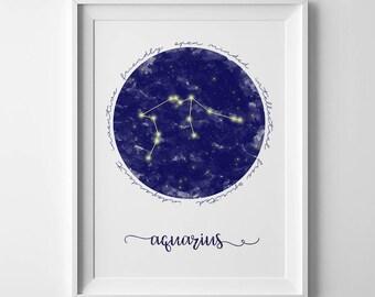 Astrology print, Printable Art, Zodiac Gift, Aquarius Gift, Horoscope Gifts, Astrology Signs, Aquarius Art Prints, Star Sign