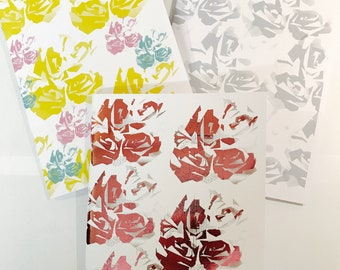 pack of 3 Handmade notebooks,rose design, Stationery gifts,multipack notebook,gifts for her,handmade uk,small gifts, foil notebook