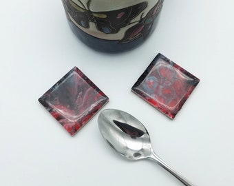 Black and Red, Spoon Rest, Teaspoon Rest, Coffee Spoon Rest, Set of 2, Tile Spoon Rest, Coffee Tea Accessory, Handpainted, Small Coaster