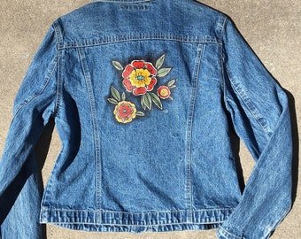 Hand painted vintage denim: eye flower
