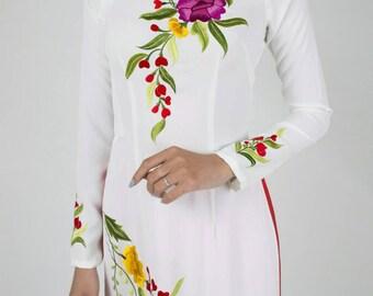 Ao dai, white vietnamese dress, holiday dress, kimono, hanbok, cheongsam, qipao