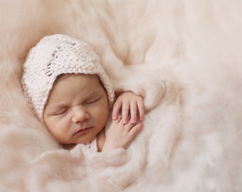 Handmade, Newborn Photography Prop, Newborn Bonnet, Eyelet Bonnet, Newborn Hat, Newborn Bonnet Photo Prop, Baby's First Hat, Peach Bonnet