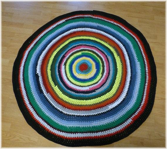 Items Similar To Round Rag Rug Multi Color Crochet 56
