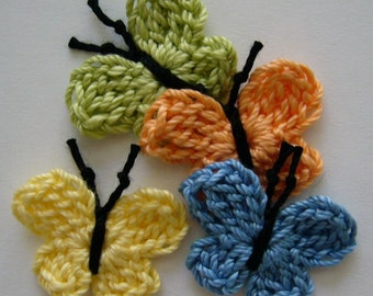 Crocheted Butterflies -  Lime Green, Tangerine, Blue and Yellow - Cotton - Crocheted Butterfly Appliques - Crocheted Embellishments