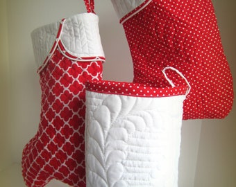 Quilted Christmas Stocking, White Feathered Christmas Stocking, Quilted Stocking, White Quilted Stocking, Elegant Christmas Stocking