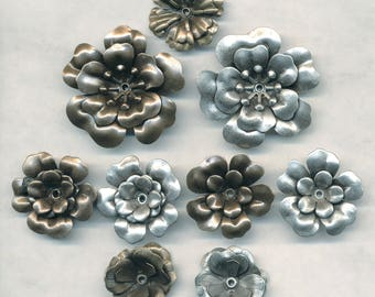 """VINTAGE FLOWERS STAMPINGS --Two Sizes, Two Colors.  Special Pricing for 4 pieces smaller  version 1"""" brass"""
