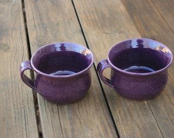 2 Purple Pottery Soup Mugs NC Farm Style Pottery