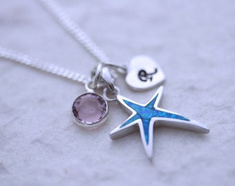 Blue opal starfish Necklace. Sterling silver starfish necklace, choose chain and 2 costumized charms, Silver starfish Pendant