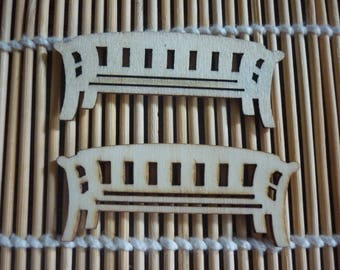 Embellishment wooden bench, sold in packs of 2.