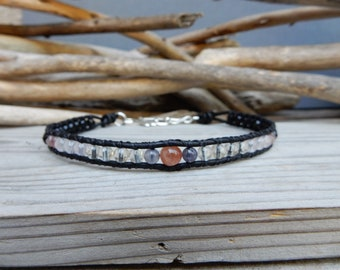 Anklet. Summer Anklet. Foot Jewelry. Ankle Bracelet. Stone Anklet. Leather Wrap. Sunstone Anklet. Quartz Onyx Jewelry. Skirt Jewelry.
