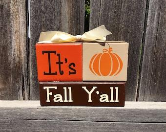 It's Fall Y'all wood blocks--Fall blocks, Autumn blocks