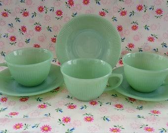 Jane Ray Fire-King Jadeite, Cup and Saucer Set, Lot of (3) Sets